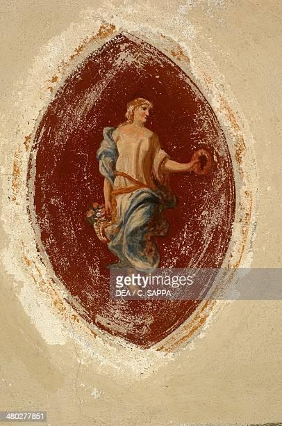 Allegory of Abundance fresco Ternengo Gromo Palace medieval quarter in Piazzo Biella Piedmont Italy
