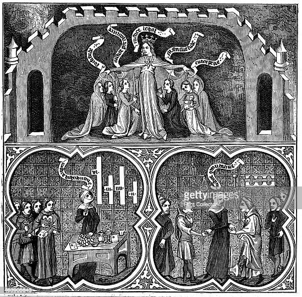 Allegory of Justice from Aristotle's Ethics 14th century Allegorical illustration of Dame Justice ruling all aspects from legal justice down to...