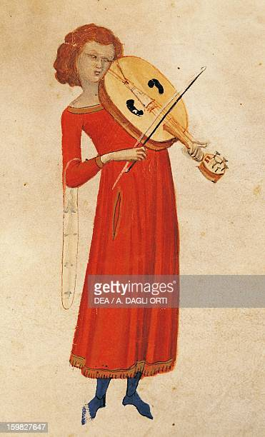 Allegory of Music miniature from a Medieval book on music by Severino Boethius fol 47 recto 14th century Naples Biblioteca Nazionale 'Vittorio...