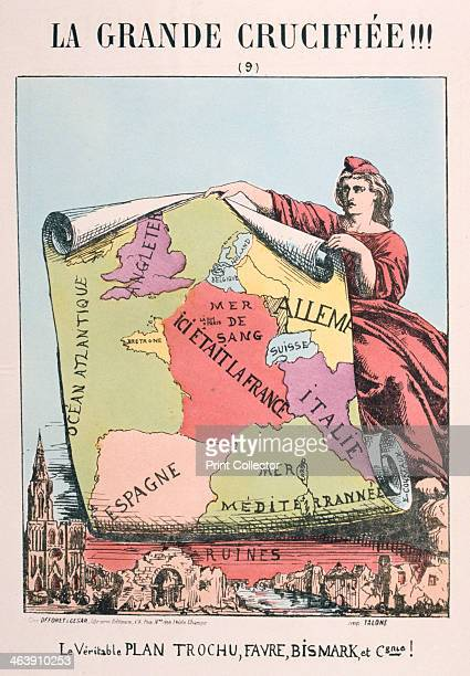 Allegory of Republican France 1871 Cartoon from a series titled La Grande Crucifiee depicting Marianne as Republican France Here she holds up a map...