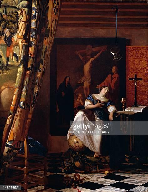 Allegory of the Catholic faith ca1670 by Johannas Jan Vermeer oil on canvas 114x89 cm New York The Metropolitan Museum Of Art
