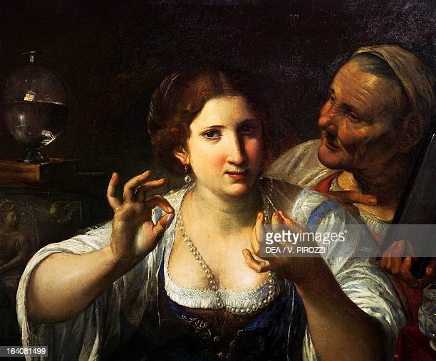 Allegory of vanity by Angelo Caroselli painting on wood 55x68 cm Rome Galleria Nazionale D'Arte Antica Di Palazzo Corsini
