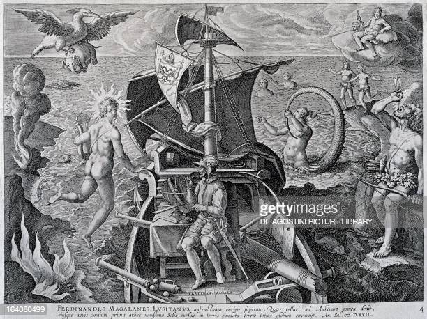 Allegory on the travels of Ferdinand Magellan by Theodor de Bry 16th century