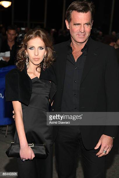 Allegra Beck Versace and father Paul Beck attend the Broadway opening night of 'Blithe Spirit' at Schubert Theatre on March 15 2009 in New York City
