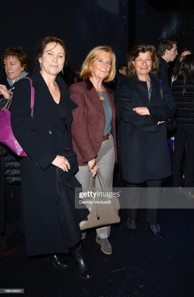 Allegra Bossi Pucci, Sibilla della Gherardesca and Fulvia Visconti Ferragamo attend the Salvatore Ferragamo show as a part of Milan Fashion Week Menswear Autumn/Winter 2013 on January 13, 2013 in Milan, Italy.