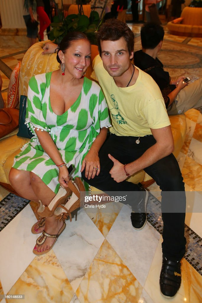 Allegra Curtis and Patrick Nuo arrive at the Versace hotel after spending two weeks in the Australian Outback on January 27, 2013 in Gold Coast, Australia. The German celebrities are participants in the 2013- RTL-TV-Show 'Dschungelcamp' - Ich bin ein Star - Holt mich hier raus!.