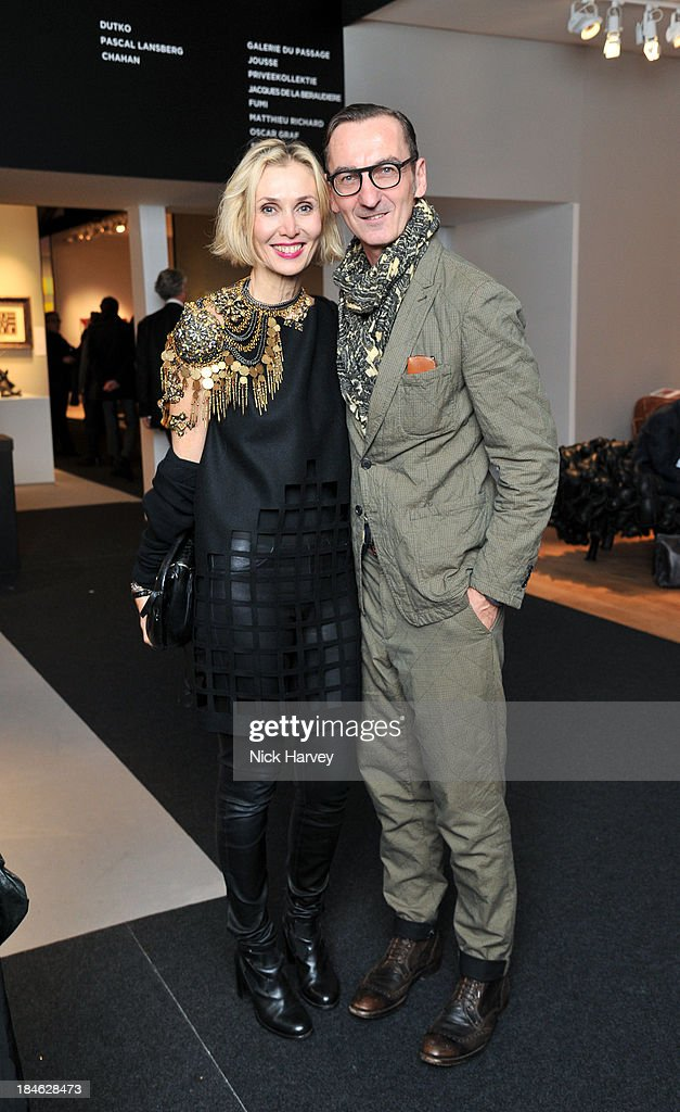 Allegra Hicks and Bruno Frisoni attend the collectors preview for PAD London at Berkeley Square Gardens on October 14, 2013 in London, England.