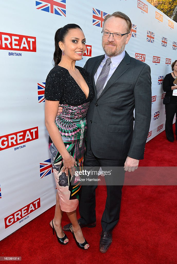 Allegra Riggio (L) and actor <a gi-track='captionPersonalityLinkClicked' href=/galleries/search?phrase=Jared+Harris&family=editorial&specificpeople=228170 ng-click='$event.stopPropagation()'>Jared Harris</a> attend the GREAT British Film Reception at British Consul General's Residence on February 22, 2013 in Los Angeles, California.
