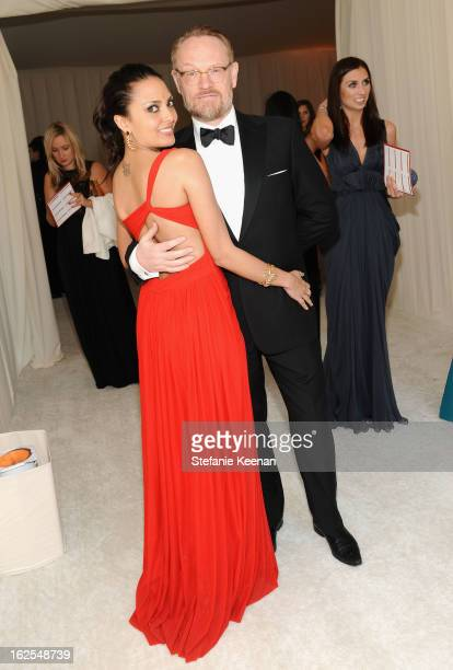 Allegra Riggio and Jared Harris attend Chopard at 21st Annual Elton John AIDS Foundation Academy Awards Viewing Party at West Hollywood Park on...