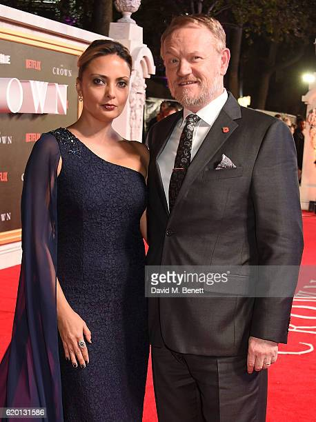 Allegra Riggio and Jared Harris attend the World Premiere of new Netflix Original series 'The Crown' at Odeon Leicester Square on November 1 2016 in...