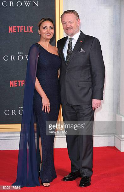 Allegra Riggio and Jared Harris attend the world premiere of 'The Crown' at Odeon Leicester Square on November 1 2016 in London England
