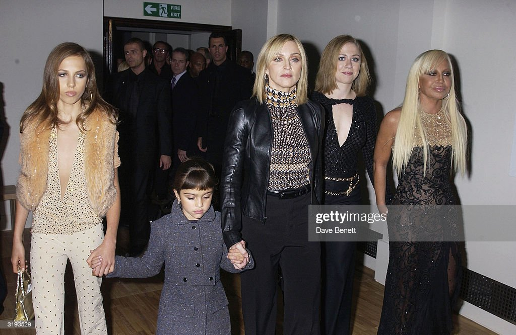 Allegra Versace (daughter of Donatella), American singer <a gi-track='captionPersonalityLinkClicked' href=/galleries/search?phrase=Madonna+-+Singer&family=editorial&specificpeople=156408 ng-click='$event.stopPropagation()'>Madonna</a> with daughter, Lourdes, Chelsea Clinton, and Italian designer Donatella Versace attend the launch of the Versace Retrospective Exhibition held at The Victoria and Albert Museum on 14th October 2002, in London.