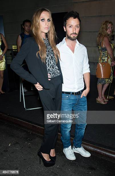 Allegra Versace and Anthony Vaccarello are seen arriving to the Harper's Bazaar Celebrates ICONS by Carine Rotifeld at The Plaza Hotel on September 5...