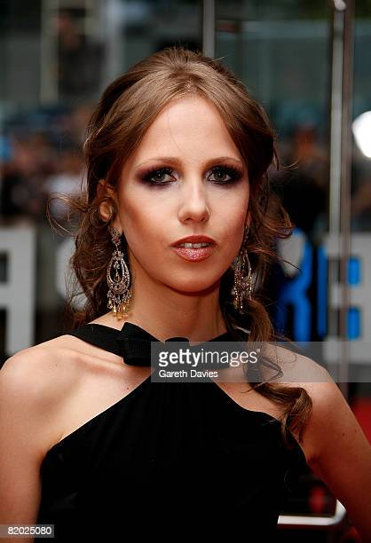 Allegra Versace arrives at the European film premiere of 'The Dark Knight' at the Odeon Leicester Square on July 21 2008 in London England
