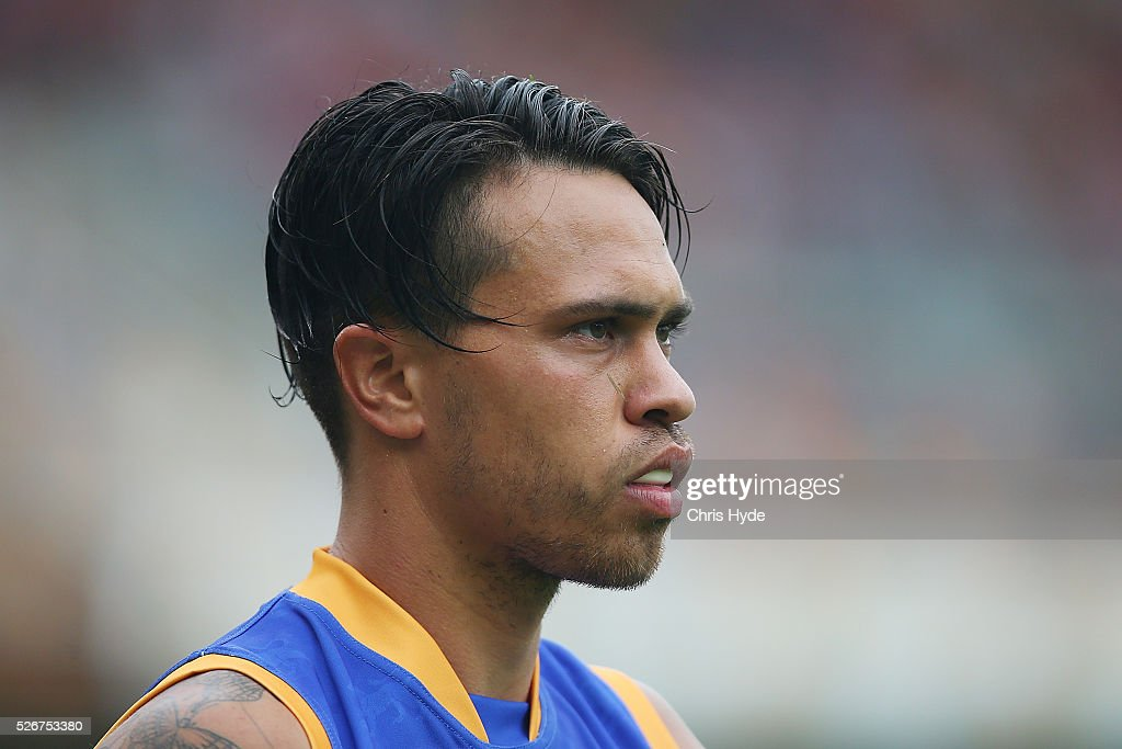Allen Christensen of the Lions looks on during the round six AFL match between the Brisbane Lions and the Sydney Swans at The Gabba on May 1, 2016 in Brisbane, Australia.