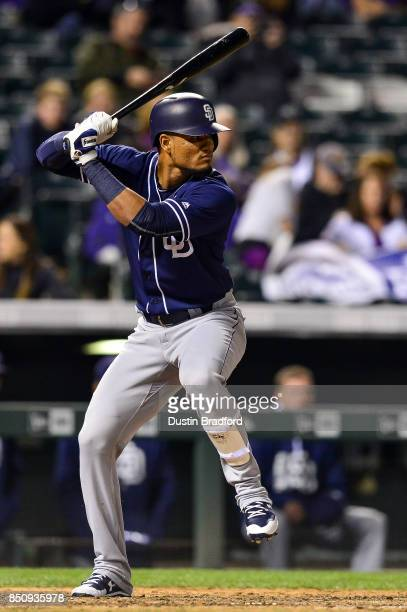 Allen Cordoba of the San Diego Padres bats against the Colorado Rockies in the ninth inning of a game at Coors Field on September 16 2017 in Denver...