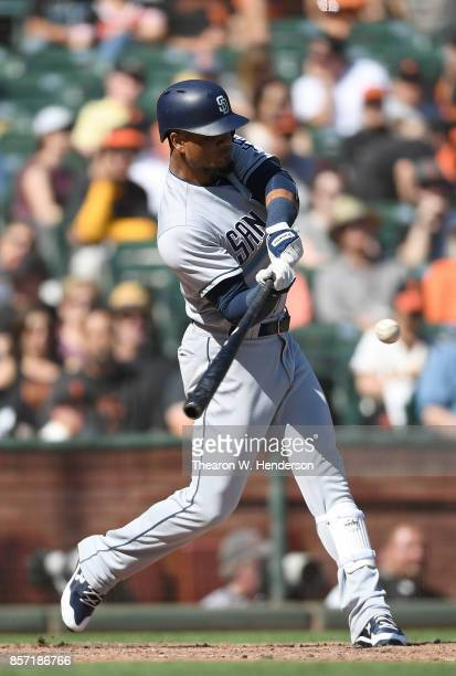 Allen Cordoba of the San Diego Padres bats against the San Francisco Giants in the top of the six inning at ATT Park on October 1 2017 in San...