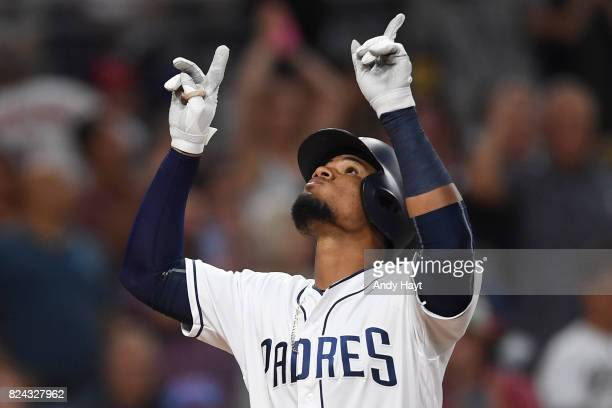 Allen Cordoba of the San Diego Padres celebrates after hitting a home run during the game against the New York Mets at PETCO Park on July 25 2017 in...