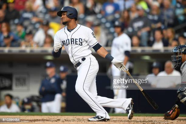 Allen Cordoba of the San Diego Padres hits during the game against the Atlanta Braves at Petco Park on June 29 2017 in San Diego California