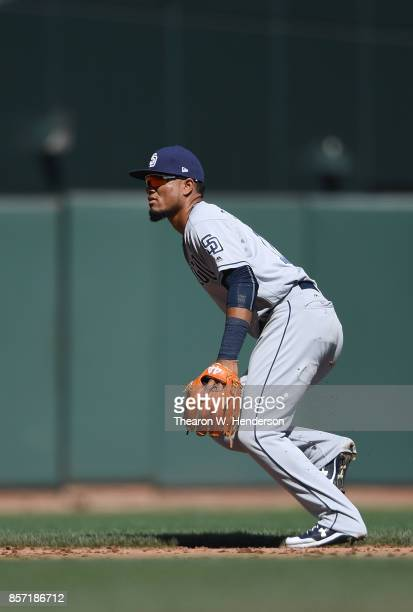 Allen Cordoba of the San Diego Padres in action against the San Francisco Giants in the bottom of the fifth inning at ATT Park on October 1 2017 in...
