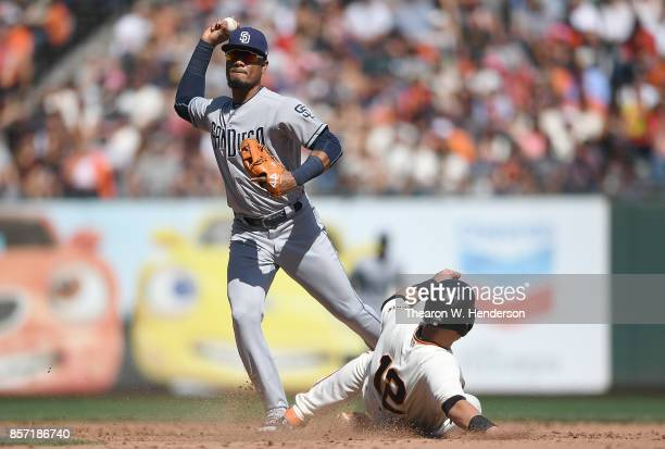 Allen Cordoba of the San Diego Padres looks to complete the doubleplay over the top of Joe Panik of the San Francisco Giants in the bottom of the...