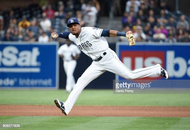 Allen Cordoba of the San Diego Padres plays during a baseball game against the Atlanta Braves at PETCO Park on June 29 2017 in San Diego California