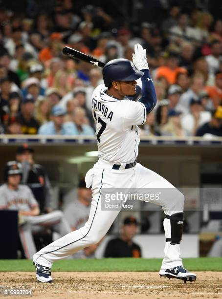 Allen Cordoba of the San Diego Padres plays during a baseball game against the San Francisco Giants at PETCO Park on July 15 2017 in San Diego...