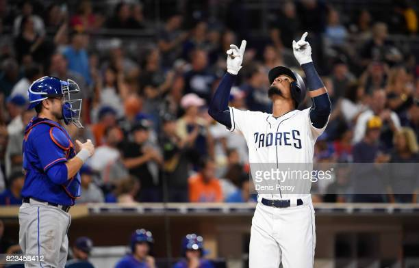 Allen Cordoba of the San Diego Padres plays during a baseball game against the New York Mets at PETCO Park on July 25 2017 in San Diego California