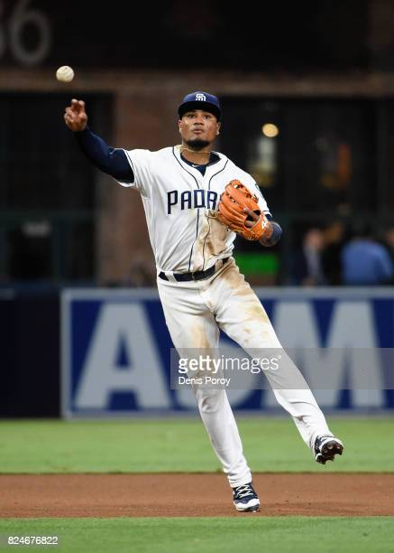Allen Cordoba of the San Diego Padres plays during a baseball game against the New York Mets at PETCO Park on July 26 2017 in San Diego California
