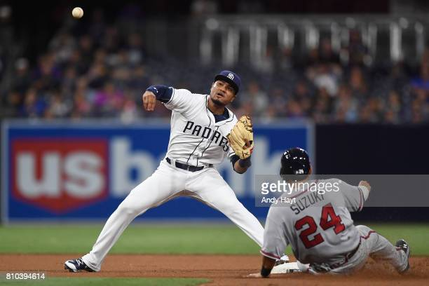 Allen Cordoba of the San Diego Padres starts a double play against Kurt Suzui of the Atlanta Braves during the game at Petco Park on June 29 2017 in...