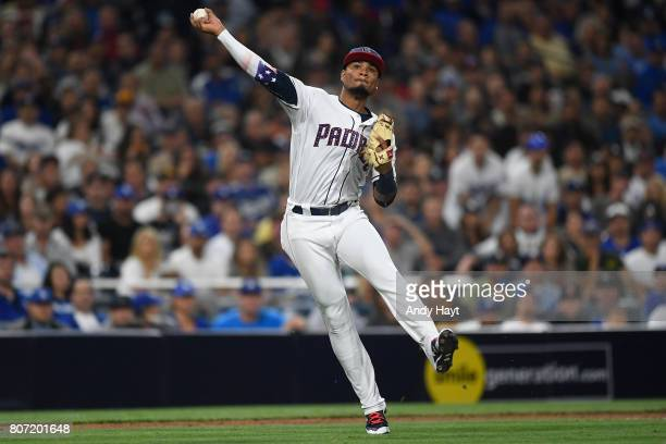 Allen Cordoba of the San Diego Padres throws to first base during the game against the Los Angeles Dodgers at Petco Park on JULy 1 2017 in San Diego...