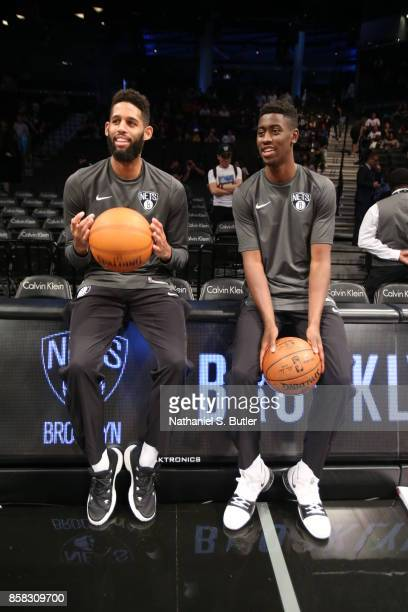 Allen Crabbe and Caris LeVert of the Brooklyn Nets looks on before the game against the Miami Heat during a preseason game on October 5 2017 at...