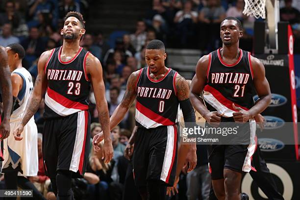 Allen Crabbe Damian Lillard and Noah Vonleh of the Portland Trail Blazers during the game on November 2 2015 at Target Center in Minneapolis...
