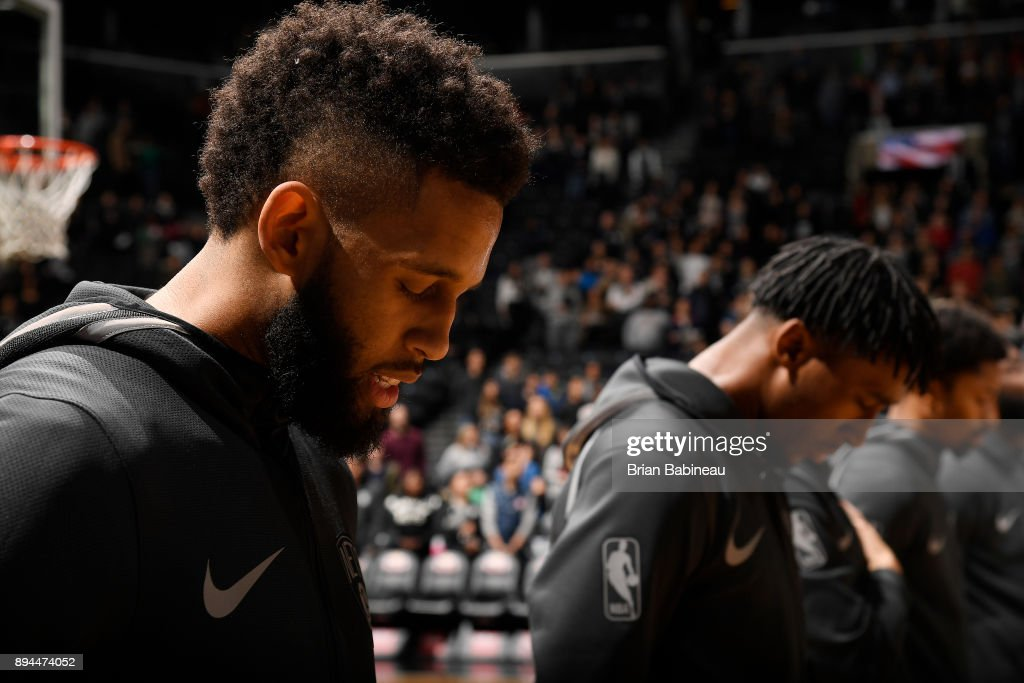 Allen Crabbe #33 of the Brooklyn Nets stands on the court during the National Anthem before the game against the Indiana Pacers on December 17, 2017 at Barclays Center in Brooklyn, New York.