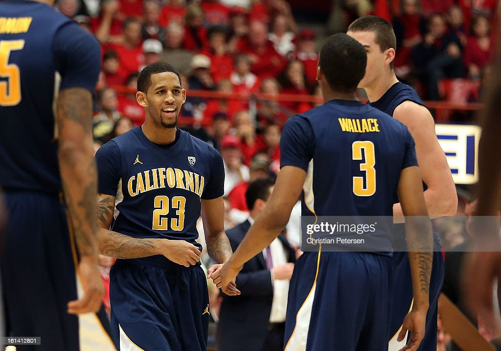 Allen Crabbe #23 of the California Golden Bears reacts with teammates after scoring against the Arizona Wildcats during the second half of the college basketball game at McKale Center on February 10, 2013 in Tucson, Arizona. The Golden Bears defeated the Wildcats 77-99.