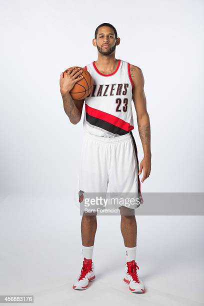 Allen Crabbe of the Portland Trail Blazer poses for photos during the teams annual Media Day September 29 2014 at the Veterans Memorial Coliseum in...