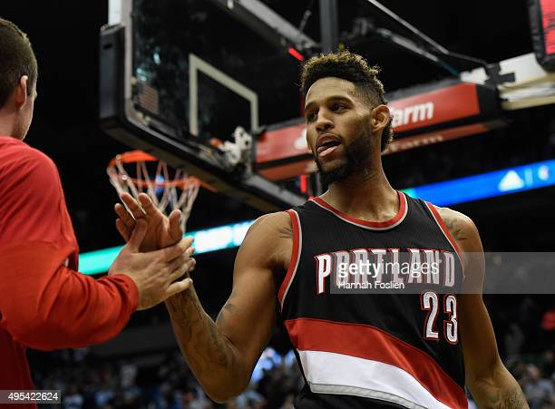 Allen Crabbe of the Portland Trail Blazers celebrates a win against the Minnesota Timberwolves after the home opening game on November 2 2015 at...