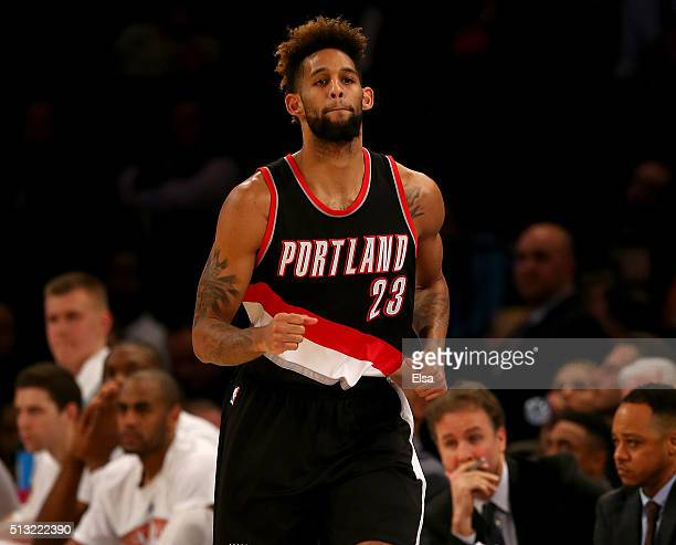 Allen Crabbe of the Portland Trail Blazers celebrates his basket in the second half against the New York Knicks at Madison Square Garden on March 1...