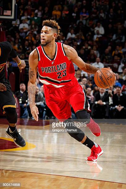 Allen Crabbe of the Portland Trail Blazers drives to the basket against the Cleveland Cavaliers during the game on December 8 2015 at Quicken Loans...