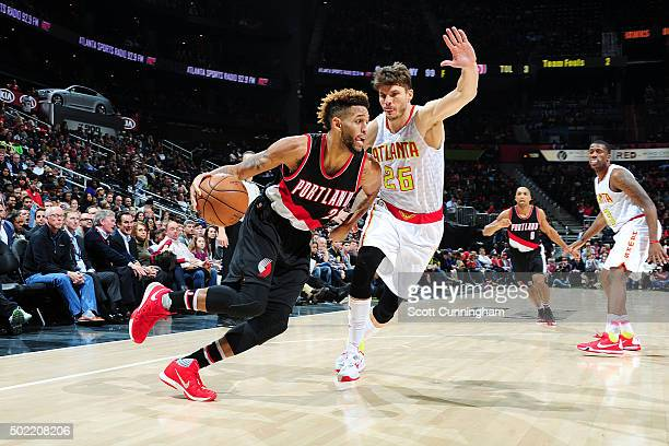 Allen Crabbe of the Portland Trail Blazers drives to the basket during the game against the Atlanta Hawks on December 21 2015 at Philips Arena in...
