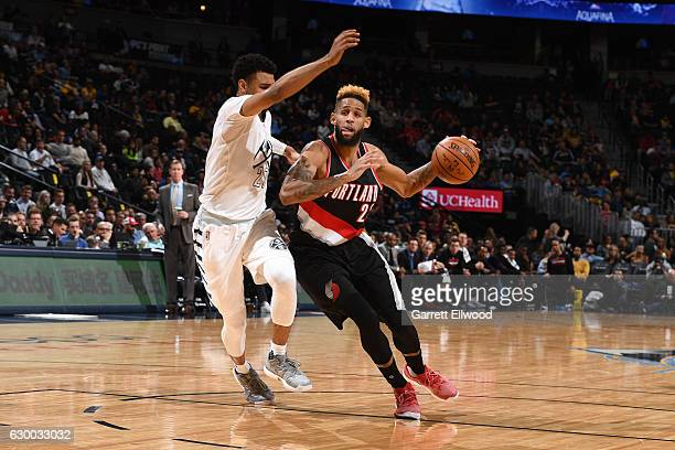 Allen Crabbe of the Portland Trail Blazers drives to the basket against the Denver Nuggets on December 15 2016 at the Pepsi Center in Denver Colorado...