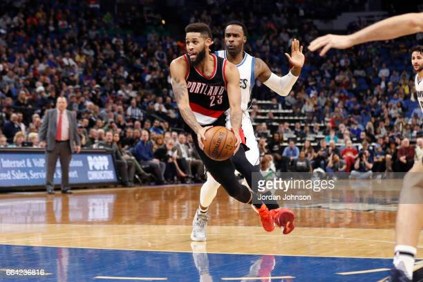 Allen Crabbe of the Portland Trail Blazers drives to the basket against the Minnesota Timberwolves at the Target Center in Minneapolis Minnesota on...