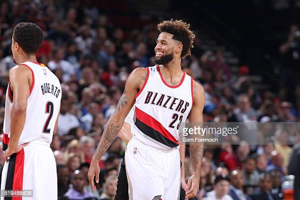 Allen Crabbe of the Portland Trail Blazers during the game against the Oklahoma City Thunder on April 6 2016 at Moda Center in Portland Oregon NOTE...