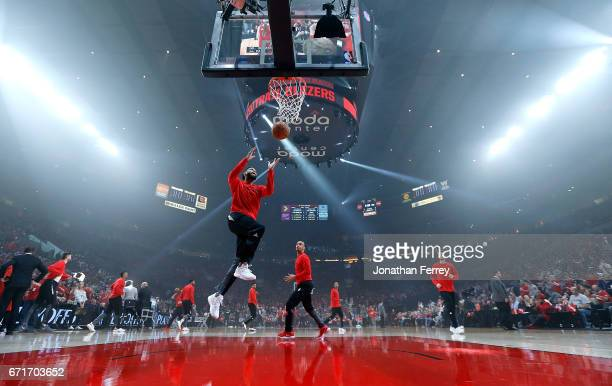 Allen Crabbe of the Portland Trail Blazers during warms up before Game Three of the Western Conference Quarterfinals of the 2017 NBA Playoffs against...