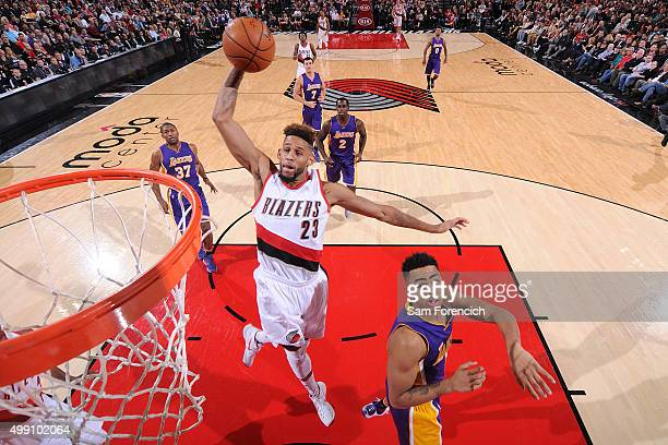 Allen Crabbe of the Portland Trail Blazers goes for the dunk during the game against the Los Angeles Lakers on November 28 2015 at the Moda Center in...