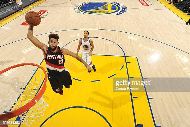 Allen Crabbe of the Portland Trail Blazers goes for the dunk during the game against the Golden State Warriors in Game Two of the Western Conference...