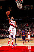Allen Crabbe of the Portland Trail Blazers goes for the layup against the Phoenix Suns during the game on October 31 2015 at Moda Center in Portland...