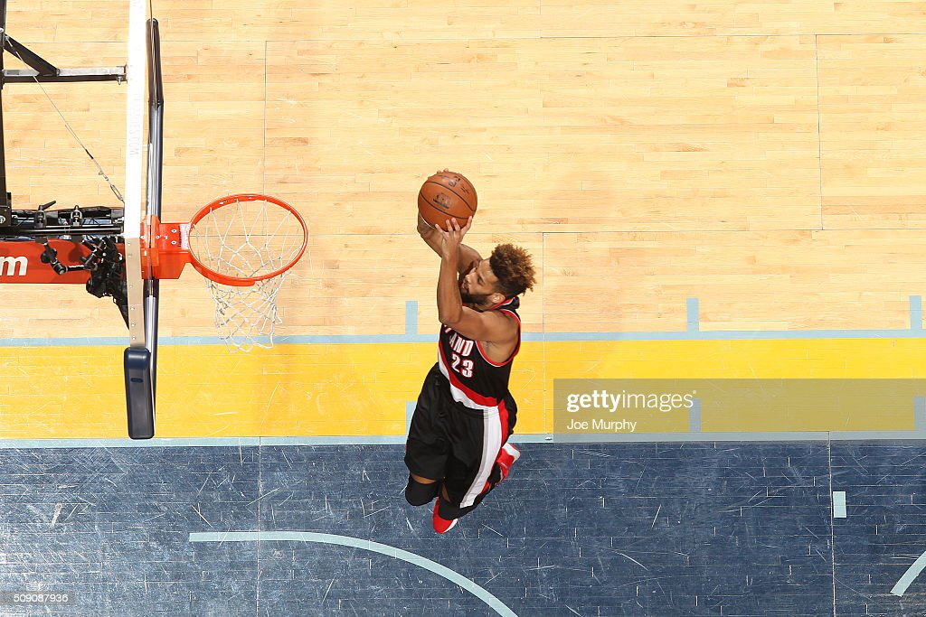 <a gi-track='captionPersonalityLinkClicked' href=/galleries/search?phrase=Allen+Crabbe&family=editorial&specificpeople=7447799 ng-click='$event.stopPropagation()'>Allen Crabbe</a> #23 of the Portland Trail Blazers goes up for a dunk against the Memphis Grizzlies on February 8, 2016 at FedExForum in Memphis, Tennessee.
