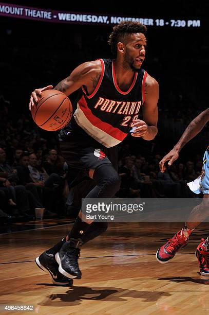 Allen Crabbe of the Portland Trail Blazers handles the ball versus the Denver Nuggets on November 9 2015 at the Pepsi Center in Denver Colorado NOTE...