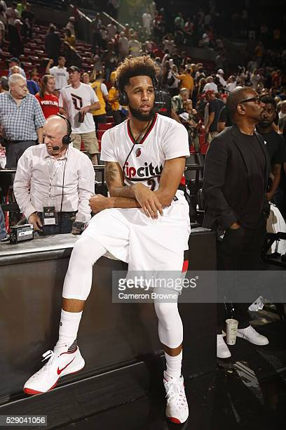 Allen Crabbe of the Portland Trail Blazers is interviewed after the game against the Golden State Warriors in Game Three of the Western Conference...
